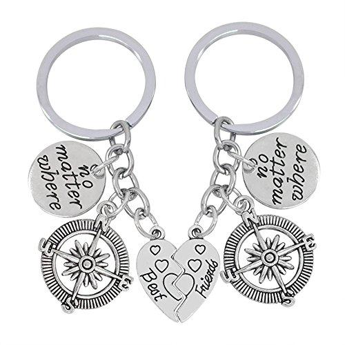 BIGBOBA Mode Legierung Schlüsselanhänger Kreativität Kompass und Herz Schlüsselbund Schlüssel Ring Kette Silver für gute Freunde