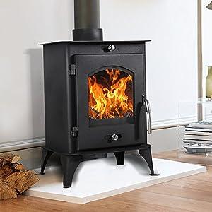Lincsfire Nettleham 7.56KW Modern Log Burner Multifuel Wood Burning Stove WoodBurner Fireplace
