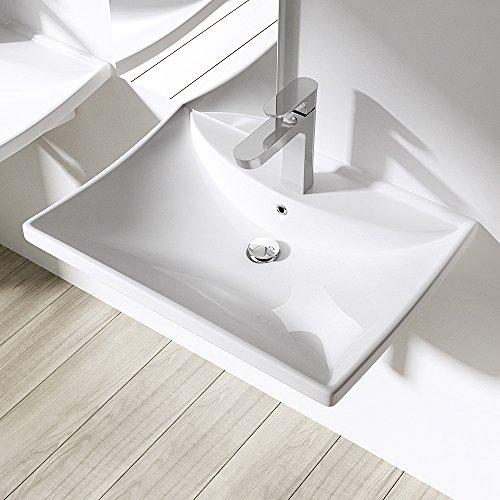 BTH: 60x44x16cm Design-Aufsatzwaschbecken / Hängewaschbecken inkl. Nano-Beschichtung aus Keramik | Brüssel709 | Waschtisch / Waschbecken