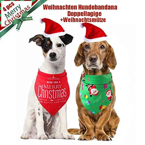 TOUCHNEW Halstuch Haustier,4 Stück Bandana für Hund Kopftuch und Haustier Weihnachtsmütze Weihnachtsmütze Hunde-Halstuch kleine, mittelgroße, große Hunde und Katze