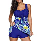 iBaste Tankini Damen Badeanzug mit Röckchen Badekleid mit Shorts Bademode Damen große größen Swimsuit-Blau-5XL