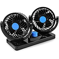 Ventilador de Refrigeración para Coche 12V Velocidad Ajustable 360 Grado Giratorio Silencioso Ventilación Fan MoTree para Coche Furgoneta SUV