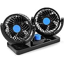 Ventilador de Refrigeración para Coche 12V Velocidad Ajustable 360 Grado Giratorio Silencioso Ventilación Fan MoTree para