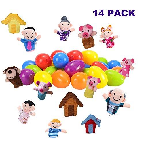 Stillshine 14 Stück Fingerpuppe Ostereier für Ostern Party Favor Theme, Puppentheater, eine Familie und Piggy Story, Klassenzimmer Prize Supplies Toy (Piggy Toy Story)