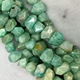 "Earth Gems Park Super Fine Quality Gems Jewelry 1 Strands Natural Green Russia Amazonite Hand Cut Faceted Nugget Free Form Loose Beads 11x15mm 15.5"" 04256 Code:- BF-23529"
