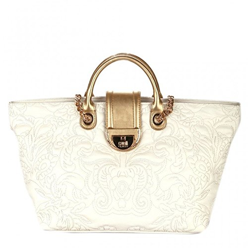 CAVALLI CLASS DIVA Borsa shopping a mano in ecopelle OFFWHITE GOLD