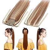 Silk-co Zopf/Pferdeschwanz Extensions Echthaar Hell Gold-braun/Gebleichtes Blond #12/613 Clip in Ponytail - Extensions Echthaar Haarteil Haarverlängerung Glatt 95g 50cm