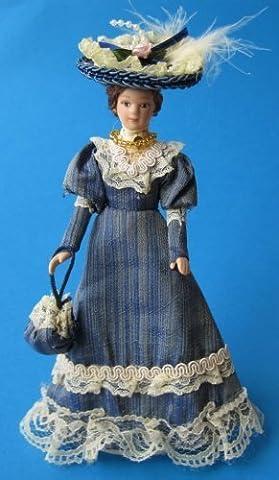 Poupée Jeu de dames Lady Élégant bleu Robe et Chapeau Maison de poupée Miniature 1:12