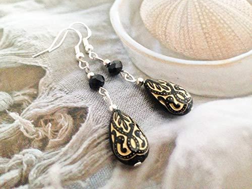 0bada6b03 pewterhooter 925 Sterling Silver drop earrings expertly made with Majestic  Blue teardrop crystal from SWAROVSKI Earrings London ...