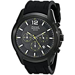 Pulsar Men's 45mm Black Silicone Band IP Steel Case Quartz Analog Watch PT3595