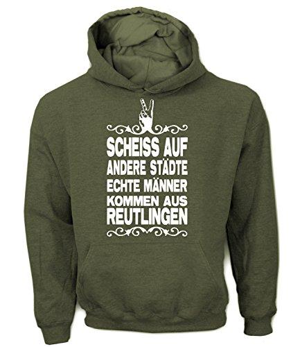 Artdiktat Herren Hoodie - Scheiß auf andere Städte - Echte Männer kommen aus Reutlingen Größe XXL, khaki