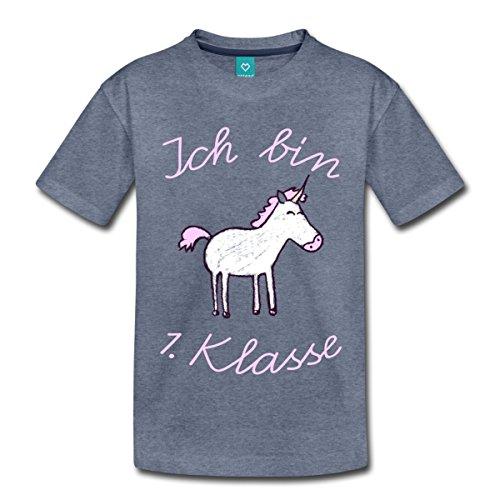 Spreadshirt Einschulung Ich Bin 1. Klasse Einhorn Kinder T-Shirt, 122/128 (6 Jahre), Blau Meliert