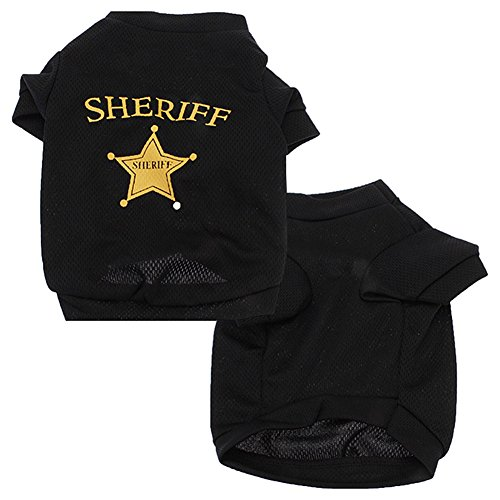 Feli546Bruce Haustier-Kostüm für Hunde und Katzen, Netzstoff, Sheriff, Sternen-T-Shirt (Weibliche Sheriff Kostüm)