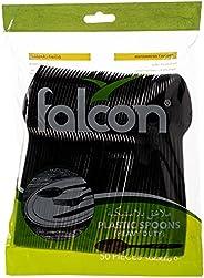 Falcon Plastic Black Table Spoon - 50 Pieces