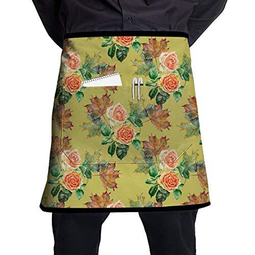 Waitress Aprons Maple Leaves of Watercolor Pattern Short Aprons Unisex Coffee Shop Barbershop Sleeveless Anti-Fouling Overalls Aprons Portable Pocket Design - Zurück Pocket-denim-short