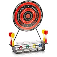 KAV - Fun Dart Board Shots Drinking Party Game Set Including 4 x colourful Shot Glasses, 4x Magnetic Darts and 1x Metal Dart Board ideal for Christmas, Birthday's, Parties