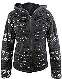 Little Kathmandu Women's Skull Printed Slashed Razor Cut Emo Gothic Ribs Hoodie Jacket