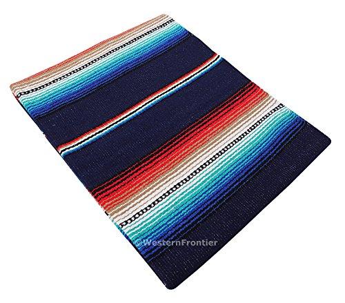 El Paso Designs SARAPE Stil Falsa Decke. Classic mexikanischen Stil SARAPE Muster in Lebendigen Farben. Acryl von Hand gewebt, 144,8x 188cm, Synthetisch, navy, 57