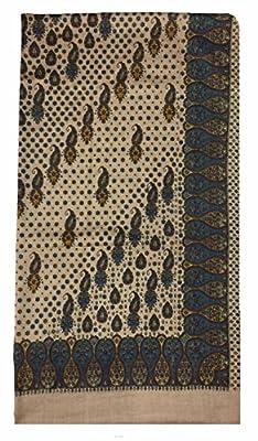 Varun Cloth House Women's Woolen Printed Kashmiri Shawl (vch3354, Beige, Free Size)