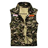 MOTOCO Herren Top Weste Denim/Hirie Lässige Camouflage Druck ärmellose Weste Baumwolle Button Pocket Jacket Hemden(XS,Mehrfarbig)