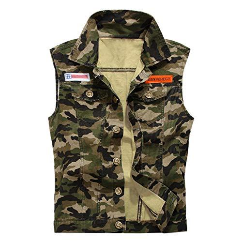 Tops Herren Sommer Shirts Basics Baumwolle Tank Tops Fitness Running Polo Bluse Strand Hemden Herbst 2019 Neu Qmber Mode lässig Tarnung ärmellose Weste Denim Weste Oben/Camo,3XL -