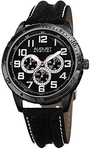 August Steiner Men's AS8116BK Multifunction Black Leather Strap Watch