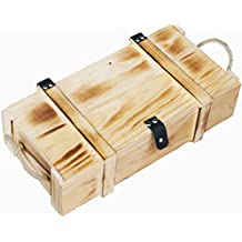Weinkiste 2er geflammt inkl. Holzwolle / Holzkiste / Geschenkbox / Aufbewahrungsbox / Überraschungskiste / Weinbox / Hochzeitskiste (2er Weinbox)