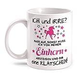 Fashionalarm Tasse Einhorn Ich und Irre beidseitig bedruckt mit Spruch & Motiv   Lustige Geschenk Idee Unicorn Fans zum Geburtstag & Weihnachten, Farbe:weiß