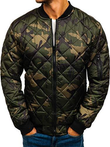BOLF Herren Übergangsjacke Bomberjacke Zip Steppjacke Camouflage Military Style J.Style MY09-A Mehrfarbig M [4D4]