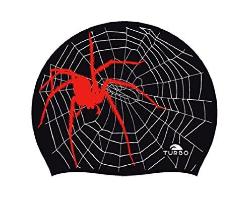 TURBO Badekappe aus Silikon SPIDER schwarz rot