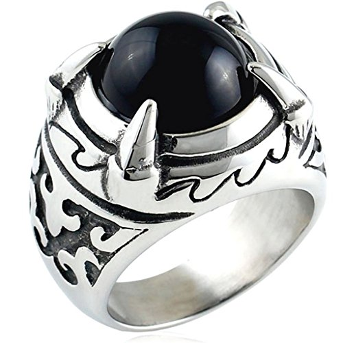 Aooaz Schmuck Herren Ring,Intarsien Achat Retro Biker Drachenklaue Edelstahl Ring Silber (Leopard Rock Sonnenbrille Retro)