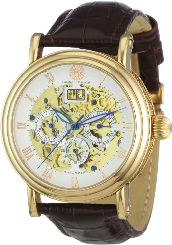 Constantin Durmont Men's Watch Skeleton CD-SKEL-AT-LT-RGRG-WH