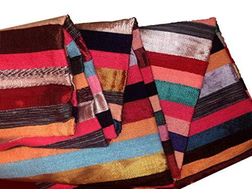 Marokkanische Kaktus-Seide/Wolle, Baumwolle, handgewebt, 280 x 180 cm, Mehrfarbig, Blau/Pink/Grün/Rot/Gelb gestreift