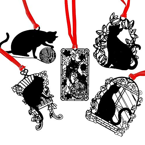 XIAOL Home 5 Pz Serie Black Cats Segnalibri in Metallo Segnalibri Neri Vuoti (Gatto in gabbiaGiocattoli per gattiCatena di Gatto in Filo Gatto in Fiore Gatto di Feltro)