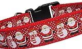 Hundehalsband Weihnachten Schneemann Weihnachtsmann Winter Geschenk Nylon Halsband Hund rot Klickverschluss L verstellbar 40 - 59 cm x 3 cm breit