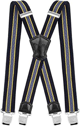 Decalen Hosenträger für Herren Breit 4 cm mit sehr Starken 4 Metall Clip Lang Einheitsgröße für Männer und Damen Einstellbar und Elastisch X Style (Marineblau Gelb Hellblau)