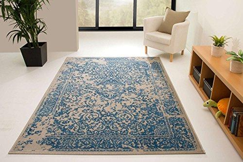 Designer Teppich Modern Karthago Bordüre in Blau, GUT Siegel Zertifiziert, Größe: 160x230 cm
