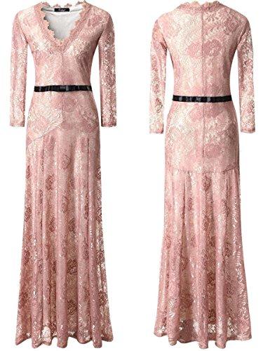 Babyonlinedress Elegant Robe de Soirée/Bal/Cérémonie Longue au sol avec Col V Manches Longues en Dentelle Rose