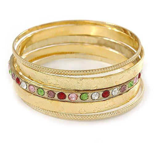 indischen Stil Glaskristall mehrfarbig Texturierte Armreif Set von 5in gold Ton-19cm L