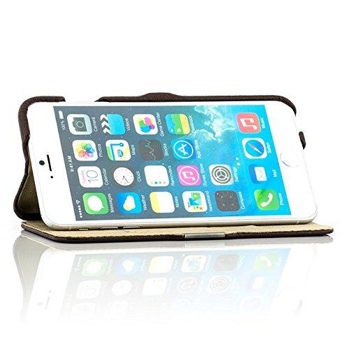 Coque iPhone 6 6S [iCareR Série] Cuir Véritable Housse Etui Poche Flip, fermeture magnetique - Blanc Litchi Marron