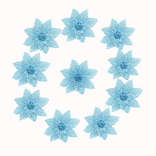 Deep lovly 10 Stücke von Weihnachtsdekoration Simulation Blume 10 cm Schneeflocken Weihnachten Deko Vintage Verzierung Hängeornamente Dekoration