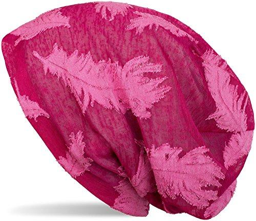styleBREAKER Beanie Mütze mit gewebtem Feder Muster, Slouch Longbeanie, Unisex 04024130, Farbe:Himbeer