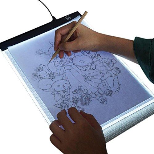 createjia A4 LED Licht Box Tracer Pad, Tragbare Dimmable Ultradünne 3,5mm Reißbrett für Zeichnung Skizzieren Kopie DIY Diamant Malerei