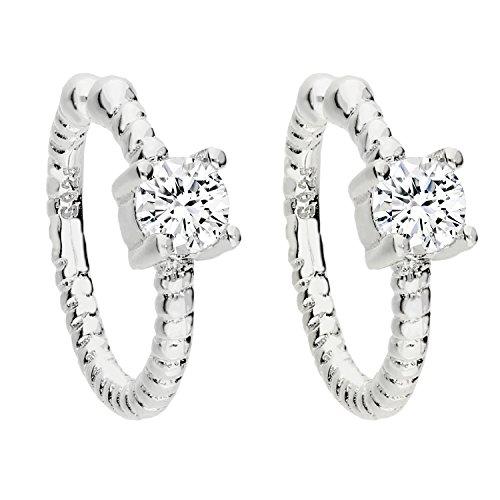MYA art Damen Ohrklemme Ohrringe Set 925 Silber mit Zirkonia Stein Glitzer Ear Cuff Fake Ohr Helix Cartilage Piercing Ring Weiß MYASIOHR-108