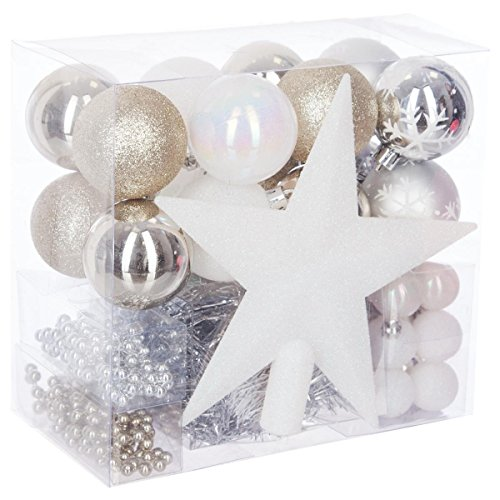 Lote de navidad - Kit 44 piezas para decorar árbol: Guirnaldas, Bolas y Estrella cima - Tema color: Blanco, oro y Plata