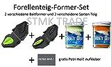 SET: Forellenteig Former in Tropfen-& Bienenmaden-Form + 2x Forellenteig ( Weiß Glitter & Orange Glitter) & gratis Petri Heil! Aufkleber