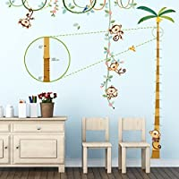 DECOWALL Monkey Height Chart Monkeys on The Vine Kids Wall Decals Wall Stickers Peel and Stick Removable Wall Stickers for Kids Nursery Bedroom Living Room(1607 1607N)