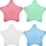 Lvcky - Tapón de desagüe para bañera, 8 Piezas, con Forma de Estrella de mar, tapón de Goma para bañera, 4 Colores