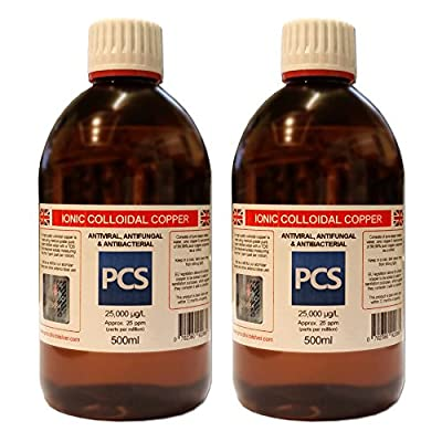 2 x Colloidal Copper 25ppm 500ml (Includes 1st Class P&P!) [2 For 1 Deal]