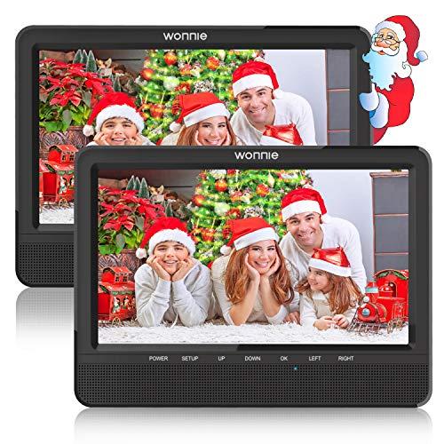 WONNIE 10 Auto DVD Player 2 Monitore Auto Tragbarer DVD Player Kopfstütze Fernseher 2 Bildschirm mit 5 Stunden Akku, unterstützt USB/SD/AV IN & Out (1Host +1 Slave)